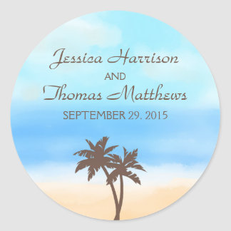 The Watercolor Beach Wedding Collection Classic Round Sticker