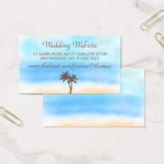 The Watercolor Beach Wedding Collection Website Business Card at Zazzle