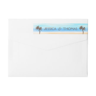 The Watercolor Beach Wedding Collection Wrap Around Label