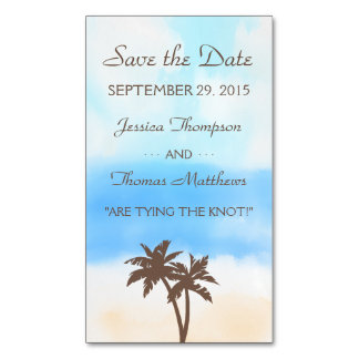 The Watercolor Beach Wedding Collection Magnetic Business Cards (Pack Of 25)