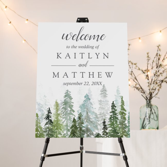 The Watercolor Pine Tree Forest Wedding Collection Foam Board