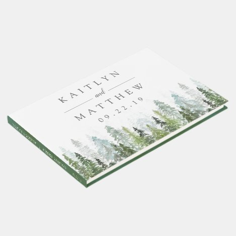 The Watercolor Pine Tree Forest Wedding Collection Guest Book