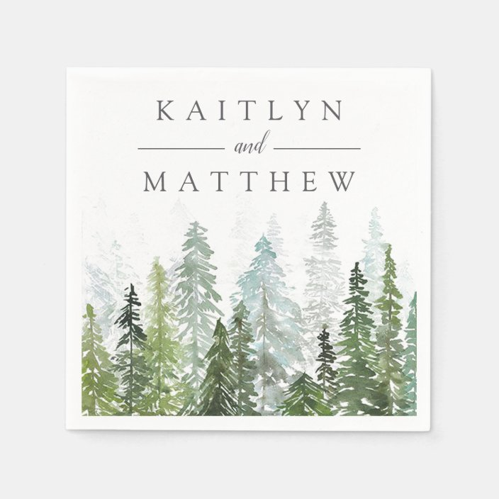 the watercolor pine tree forest wedding collection napkins zazzle com the watercolor pine tree forest wedding collection napkins zazzle com