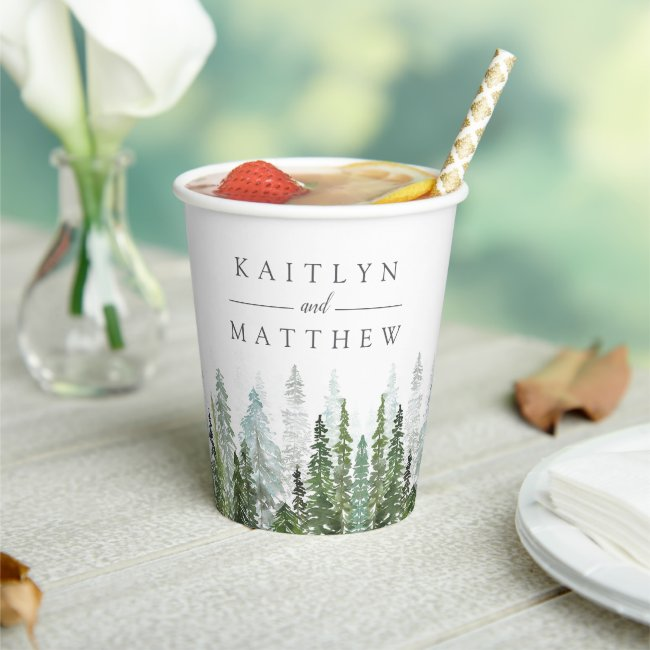 The Watercolor Pine Tree Forest Wedding Collection Paper Cups