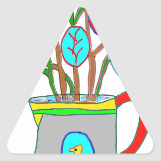The WATERING-CAN WITH the EGGS DE PAQUES1.png Triangle Sticker