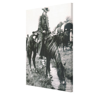 The Watering Hole Cowboy On Horse  Canvas Print