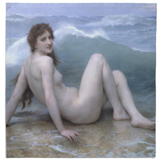 The Wave by William-Adolphe Bouguereau Cloth Napkin