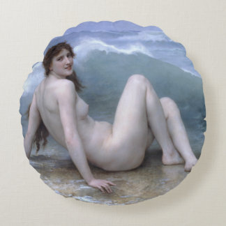 The Wave by William-Adolphe Bouguereau Round Pillow