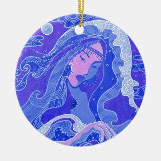 The Wave, Mermaid, Asian Girl, blue & pink Ceramic Ornament