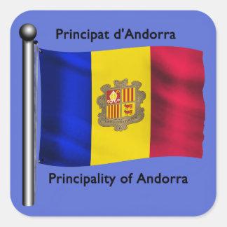 The Waving Flag of Andorra Square Sticker