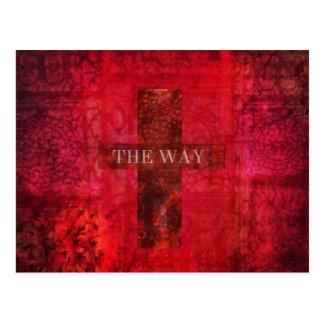 THE WAY cross Contemporary Christian art Postcard