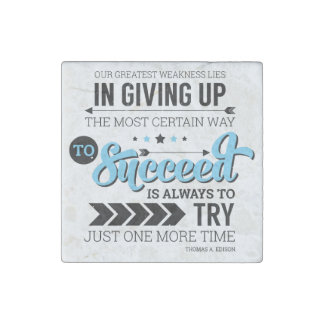 The Way To Succeed Typography Motivational Quote Stone Magnet