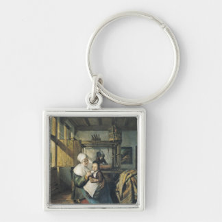 The Weaver's Workshop Silver-Colored Square Keychain