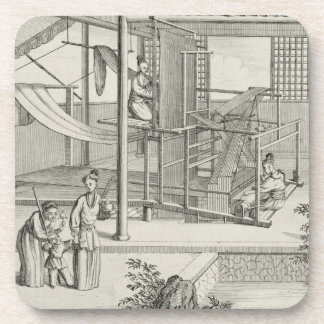 `The Weaving of Flower'd Silks', Two Women at Work Drink Coasters