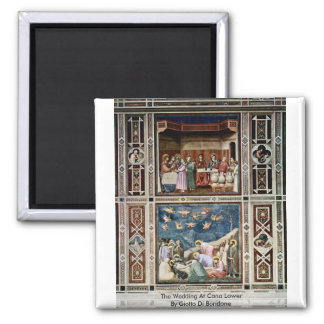 The Wedding At Cana Lower  By Giotto Di Bondone 2 Inch Square Magnet