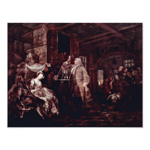 "The Wedding Banquet "" By Hogarth William 4.25x5.5 Paper Invitation Card"