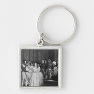 The wedding ceremony Silver-Colored square keychain