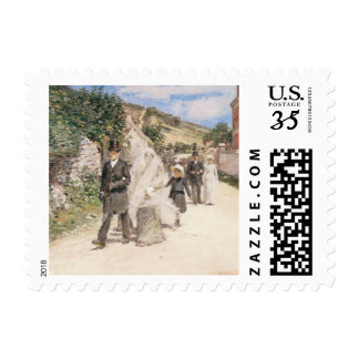 The Wedding March by Theodore Robinson, Newlyweds Postage Stamps