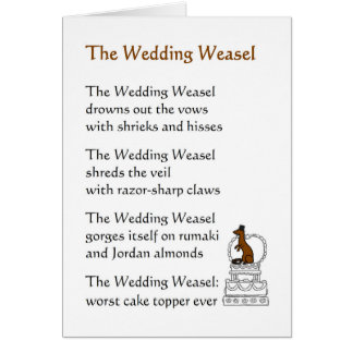 Funny Wedding Gift Card Message : The Wedding Weasel - a funny wedding poem Card