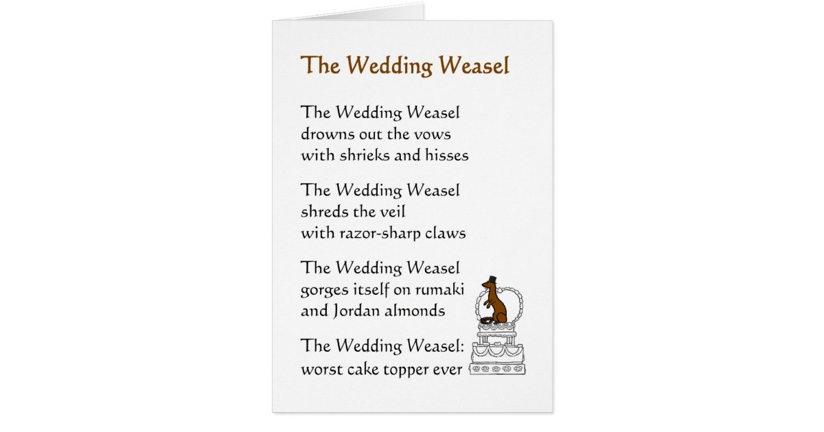 Funny Wedding Invite Poems: The Wedding Weasel - A Funny Wedding Poem Card