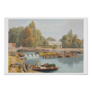 The Weir, from Marlow Bridge, engraved by Robert H Poster