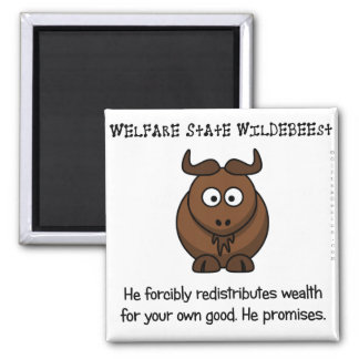 The welfare state is concerned with your wellbeing 2 inch square magnet