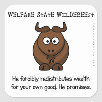The welfare state is concerned with your wellbeing square sticker