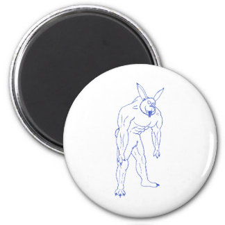 The Wererabbit (lined in blue or gold) 2 Inch Round Magnet