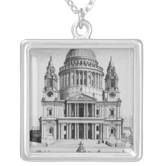 The West Prospect of St. Paul's Cathedral Silver Plated Necklace