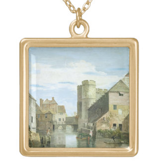 The Westgate, Canterbury (bodycolour on paper) Gold Plated Necklace