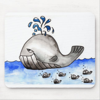 The whale family mouse pad
