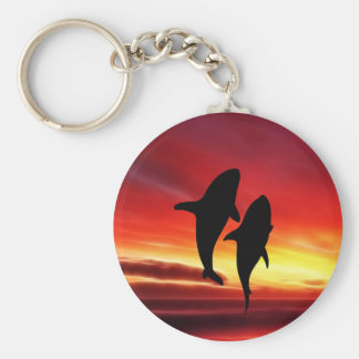 The whales dance at sunset basic round button keychain