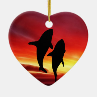 The whales dance at sunset ceramic ornament