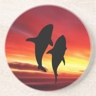The whales dance at sunset beverage coasters
