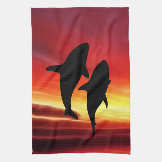 The whales dance at sunset kitchen towel