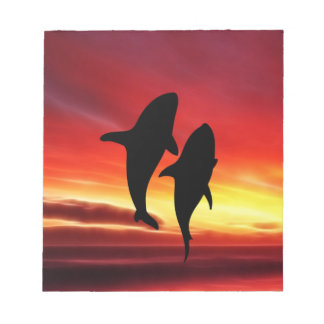 The whales dance at sunset notepad