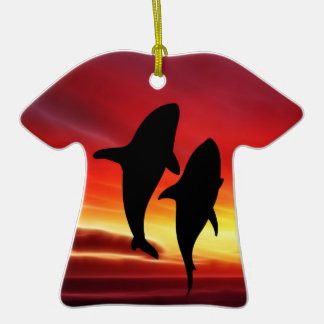 The whales dance at sunset Double-Sided T-Shirt ceramic christmas ornament