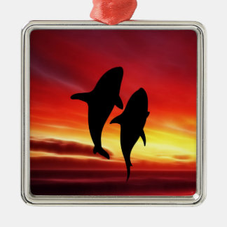 The whales dance at sunset square metal christmas ornament