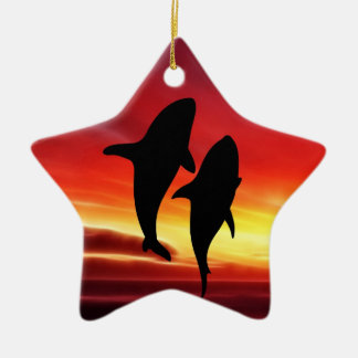 The whales dance at sunset Double-Sided star ceramic christmas ornament