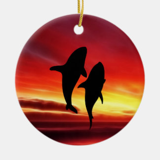 The whales dance at sunset Double-Sided ceramic round christmas ornament