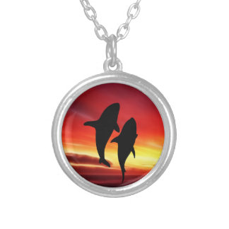 The whales dance at sunset silver plated necklace