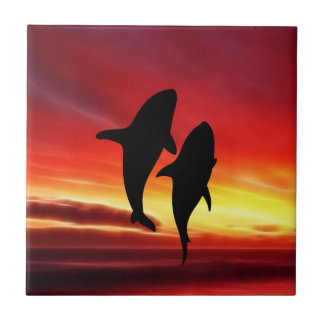 The whales dance at sunset tile