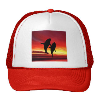 The whales dance at sunset trucker hat