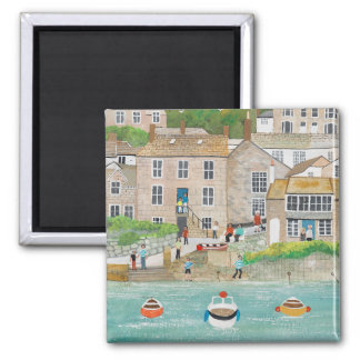 The Wharf at Mousehole 2 Inch Square Magnet