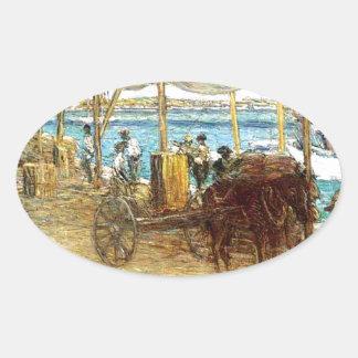 The Wharves, Nassau by Julian Alden Weir Oval Sticker