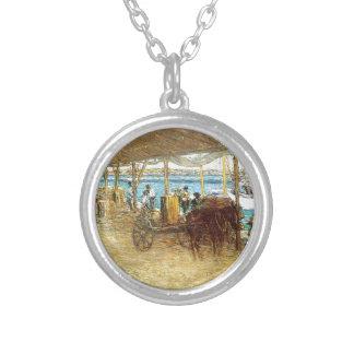 The Wharves, Nassau by Julian Alden Weir Round Pendant Necklace