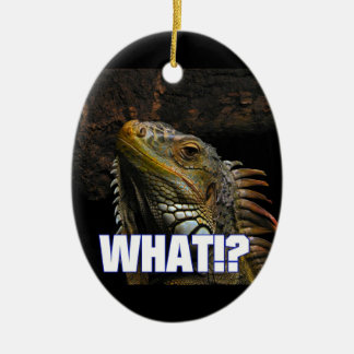 The What!? Iguana Double-Sided Oval Ceramic Christmas Ornament