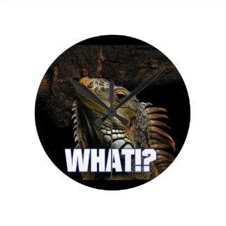 The What!? Iguana Round Clock