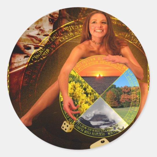 The Wheel of Fortune Tarot Card Art Classic Round Sticker