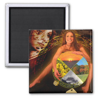 The Wheel of Fortune Tarot Card Art 2 Inch Square Magnet